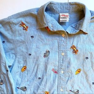 The Disney Store Winnie the Pooh Jean Button Down